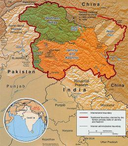 Kashmir map Photo Credit: Wikipedia