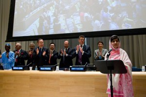 Malala Yousafzai addressing at UN  Photo : UN