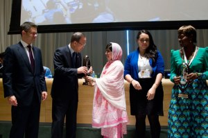 UN Secretary General honoring Malala Yousafzai Photo: UN